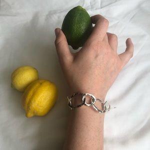 Chloe +Isabel Silver Organic Link Toggle Bracelet